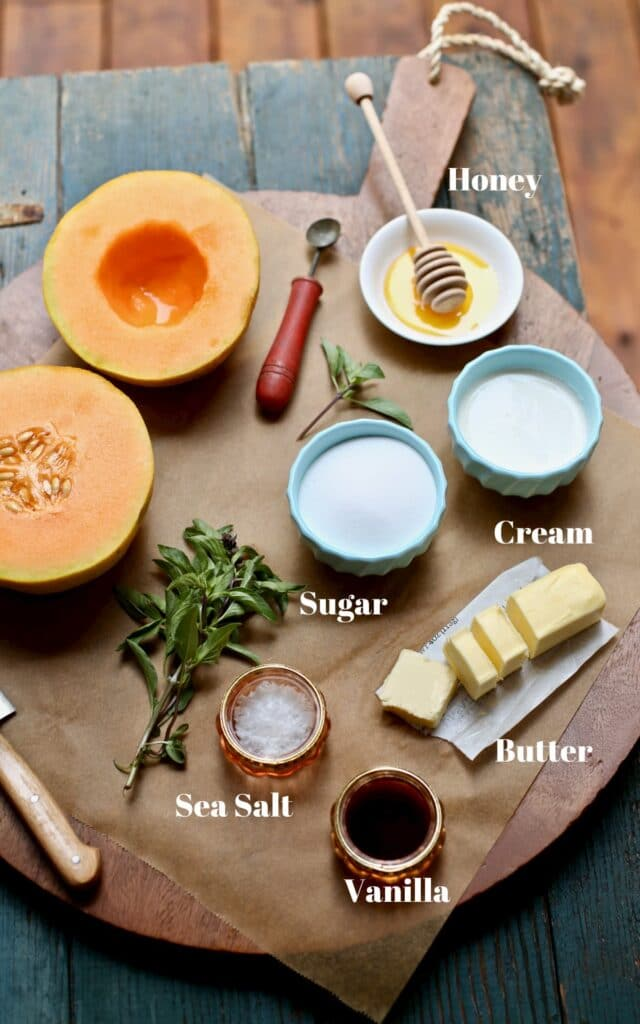 ingredients for caramel sauce on a wooden board