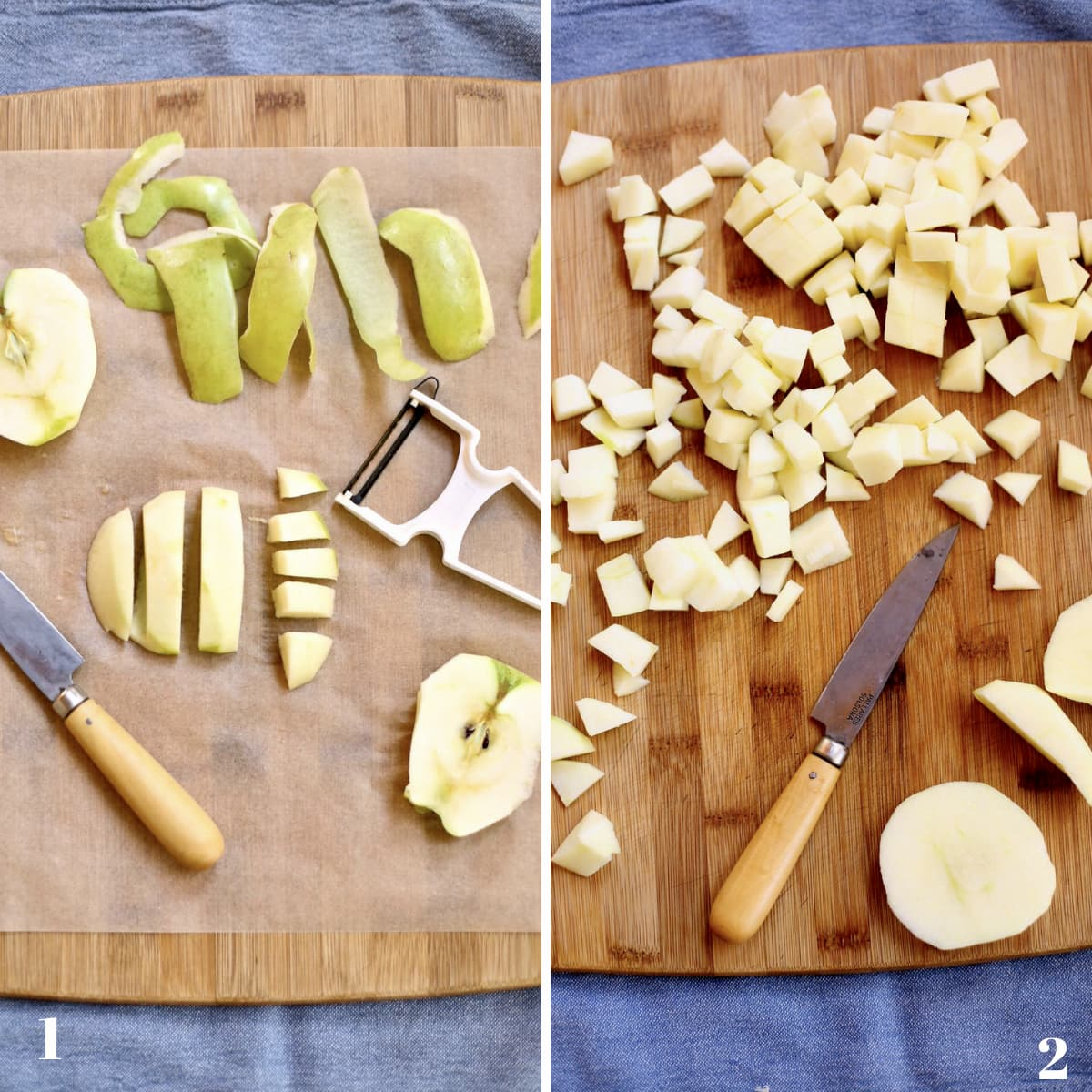 green apples in various stages of peeling and chopping