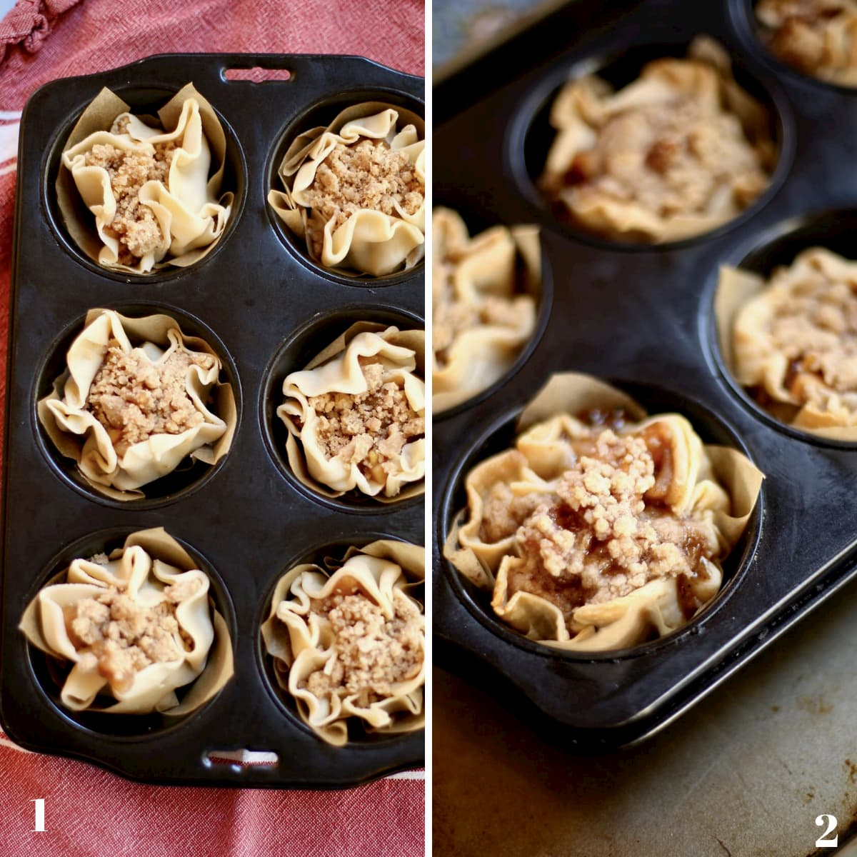 Before and after photos of uncooked and cooked muffin tin pies
