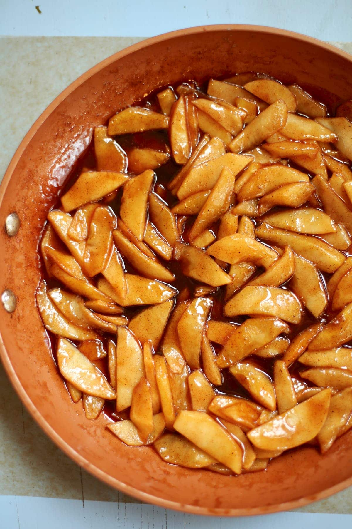 spiced apples in a skillet
