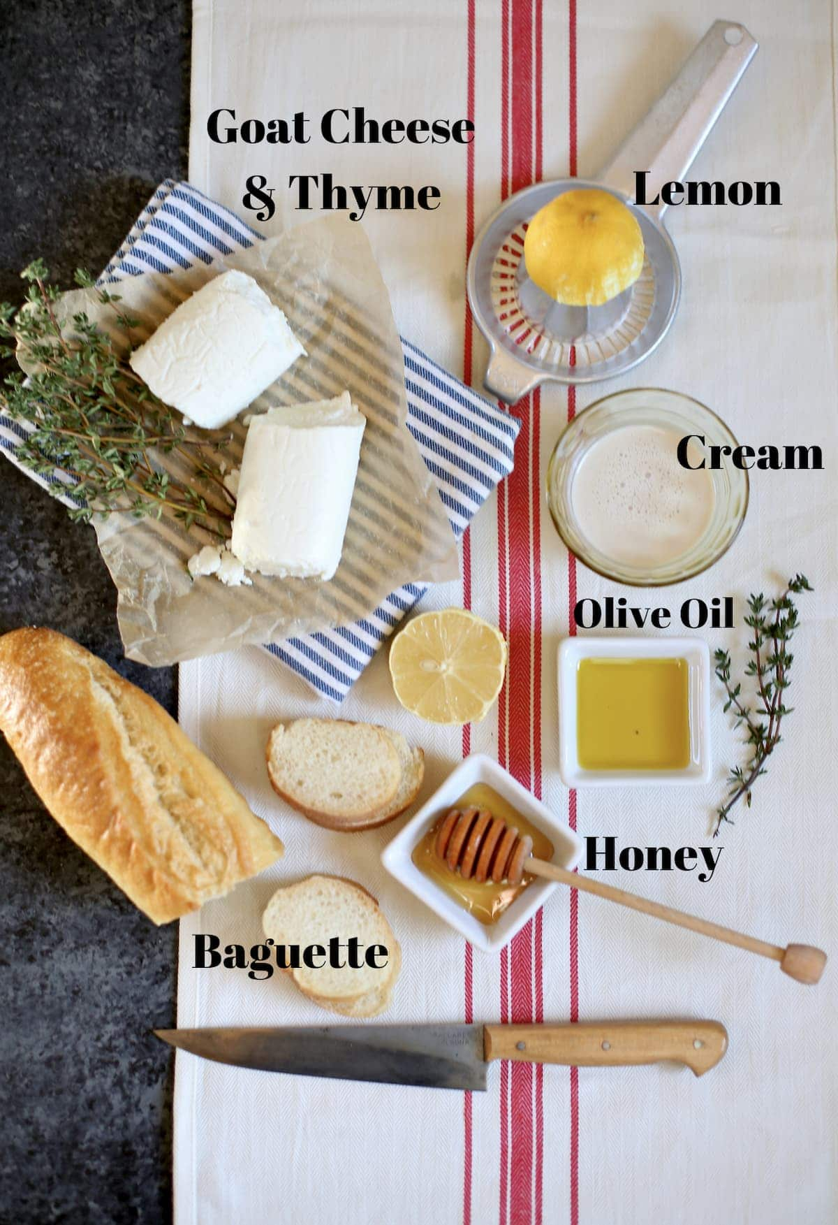 several ingredients that are laid out on a striped table and marked on the photo with text