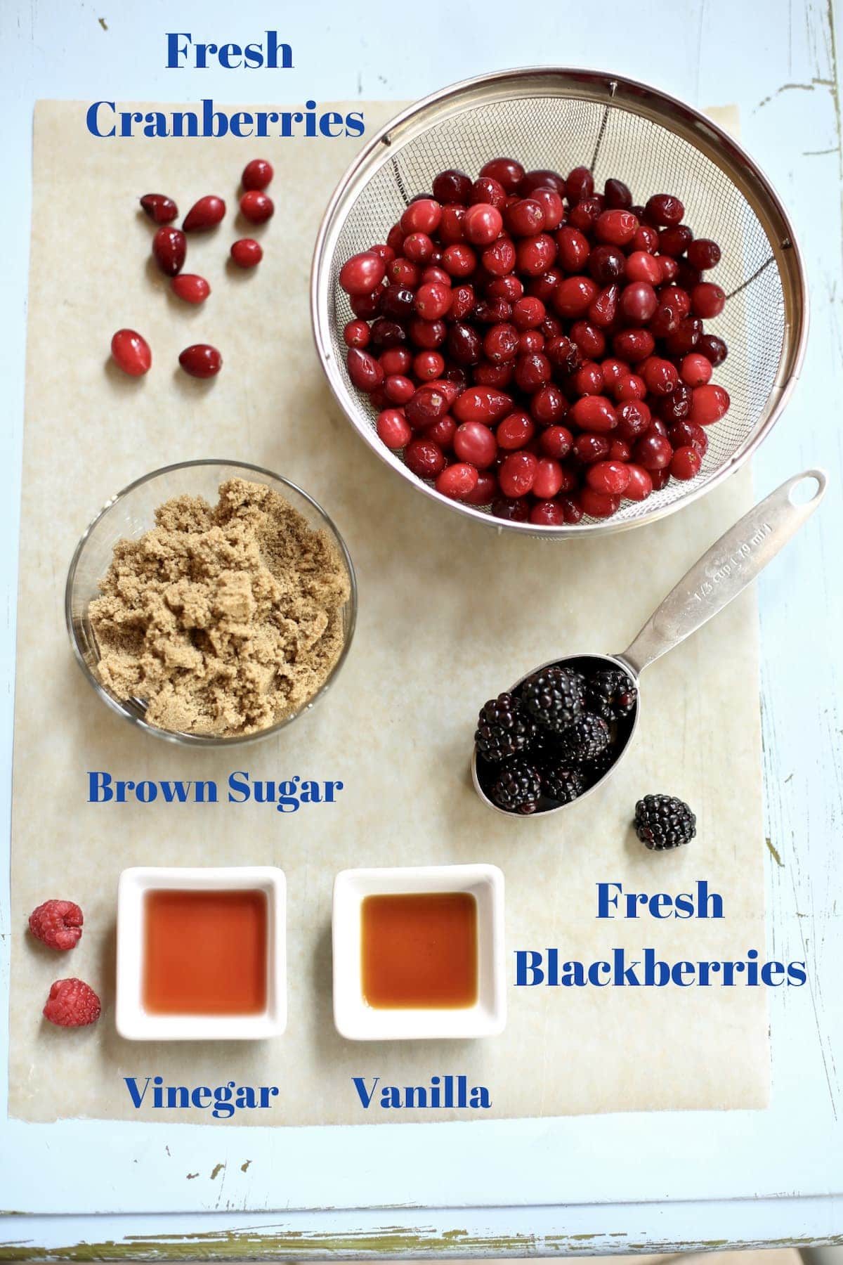 ingredients for cranberry sauce on a table with text overlay