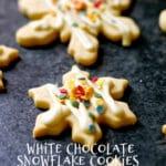 White Chocolate Snowflake Cookies with white text