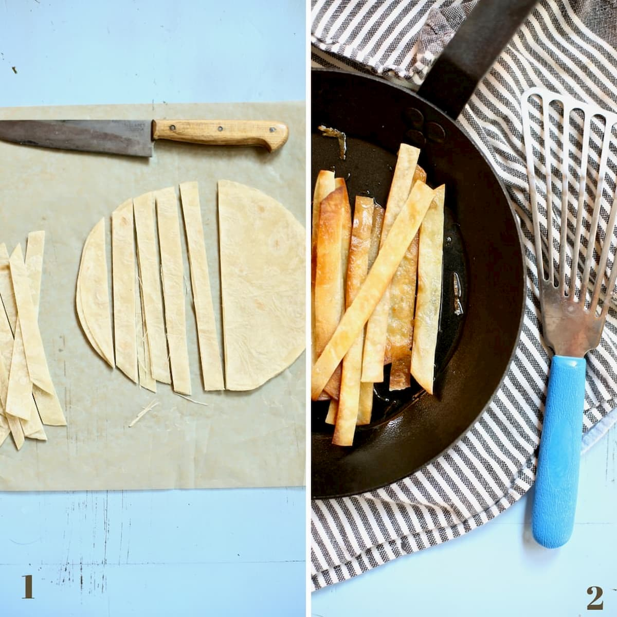 a side by side photo of two processes: cutting a tortilla with a knife and frying them in a pan