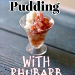 rice pudding in a small glass jar wth text overaly on a blue wood table