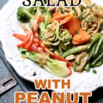 a white plate of vegetables and noodles with peanut sauce with a text overlay saying what the recipe name is (noodle salad with peanut sauce)