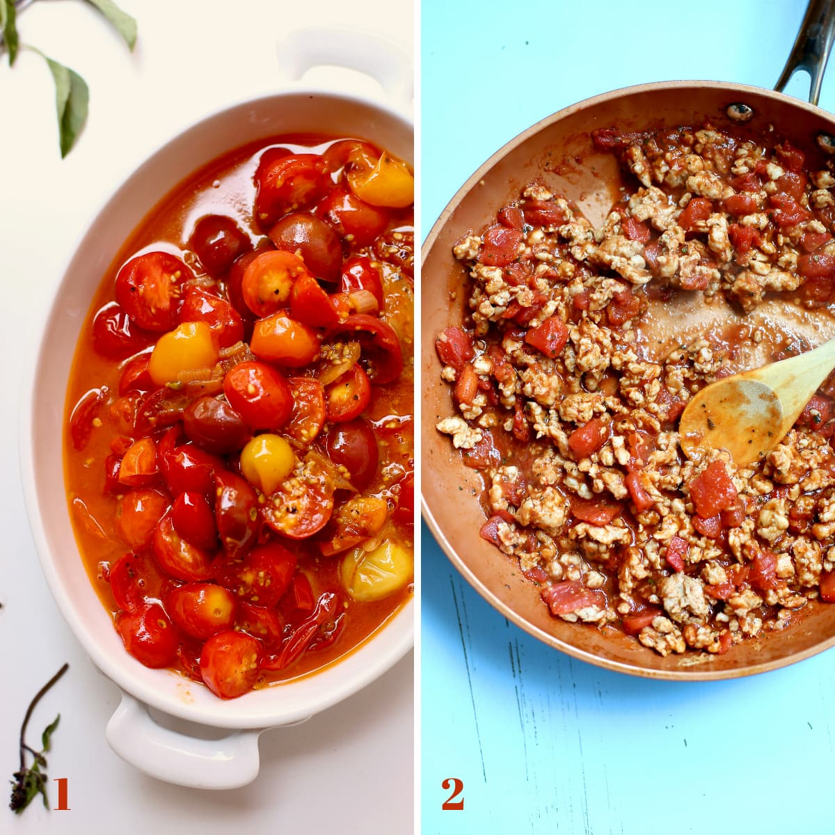 two photos, one with sauteed cherry tomatoes on the left, the other with cooked sausage crumbles on the right.