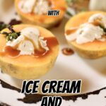 three halves of cantaloupe with ice cream inside them, melting, on a serving platter