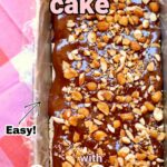 an ice cream cake with nuts on top and text overlay saying its easy.