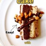 a piece of ice cream cake with peanuts on top with text ovelay saying the recipe name